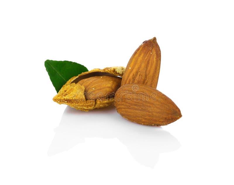 Honung grillad mandelmellanmålplatta med bladet på vita lodisar arkivfoto