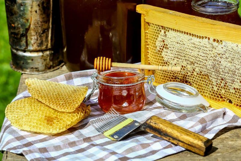 Honung i exponeringsglasbunke, trähonungskopa och honungskakor i träram med fulla celler av honung som förseglas med vaxet, hjälp royaltyfri fotografi