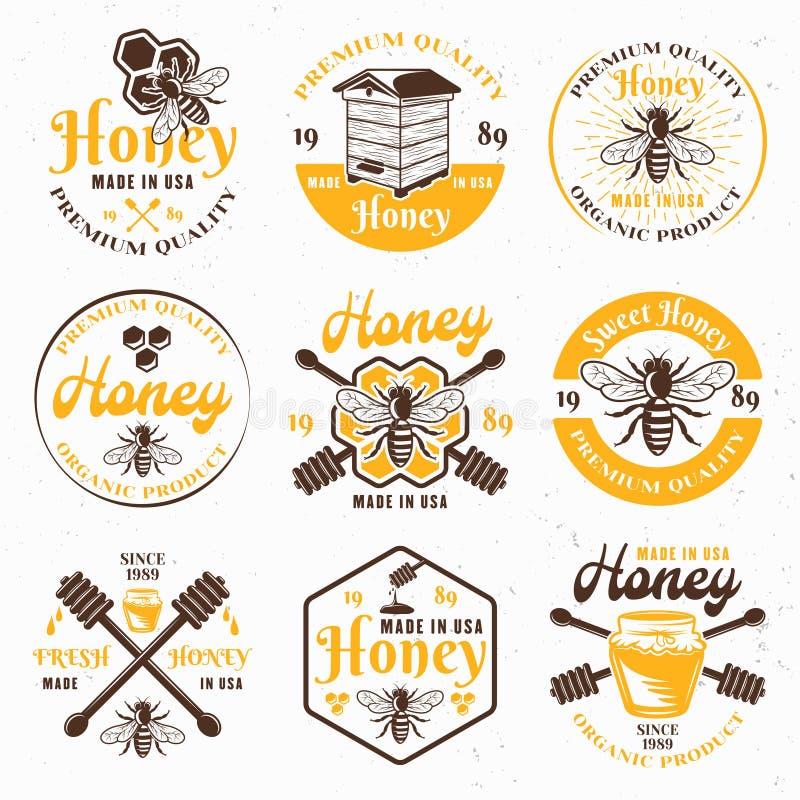 Honung- och bikupauppsättning av kulöra vektoremblem royaltyfri illustrationer