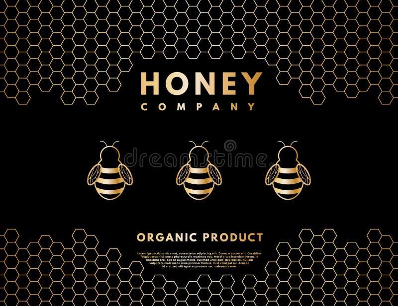 Honung- och bilogo för företaget, etikettbakgrund vektor illustrationer