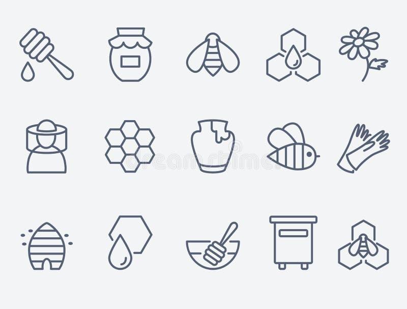 Honung- och biodlingsymboler vektor illustrationer