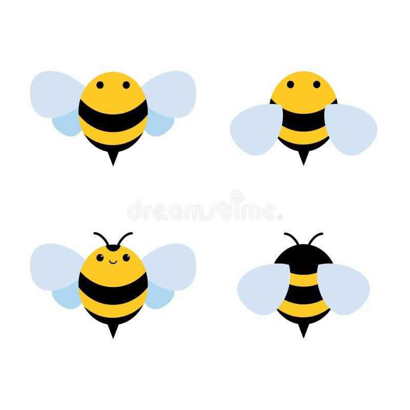Honung- och bisymbol Honungvektor royaltyfri illustrationer