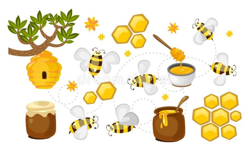 Honung- och bivektorsamling honungskakor, krus med honung och färgrik uppsättning för bin Vektorbiodlingillustration royaltyfri illustrationer