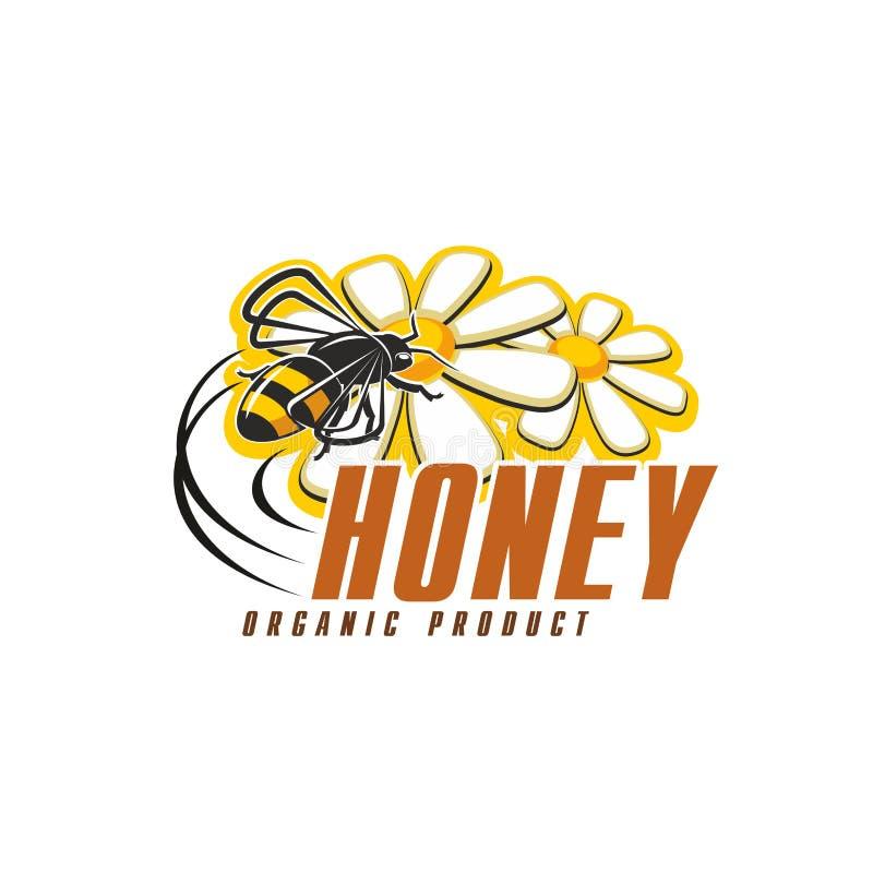 Honungbi med blommasymbolen för design för organisk mat vektor illustrationer
