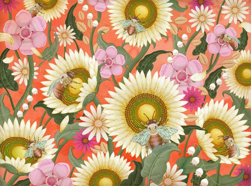 Honungbi- och blommabakgrund vektor illustrationer