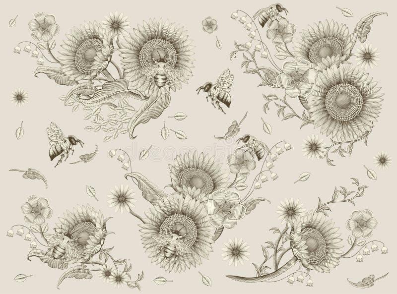 Honungbi- och blommabeståndsdelar vektor illustrationer