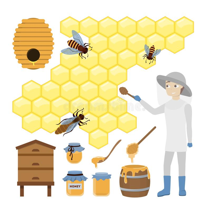 Honungbiuppsättning vektor illustrationer