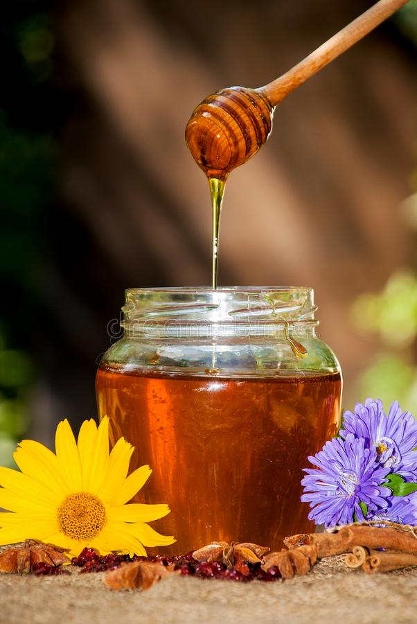 Honungdroppande i krus på tabellen royaltyfria foton