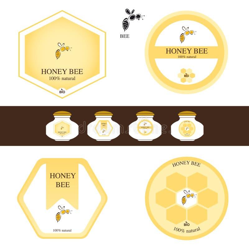 Honungetiketter royaltyfri illustrationer