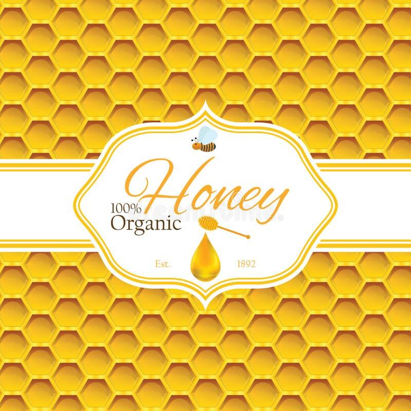 Honungetikettmallen för honunglogoprodukter med biet och droppe av honung på honungskakacolorfull mönstrar bakgrund stock illustrationer