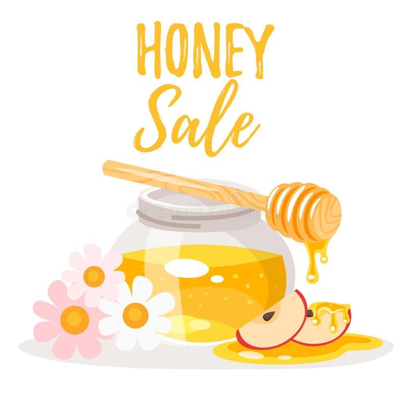 Honungförsäljningsbaner stock illustrationer