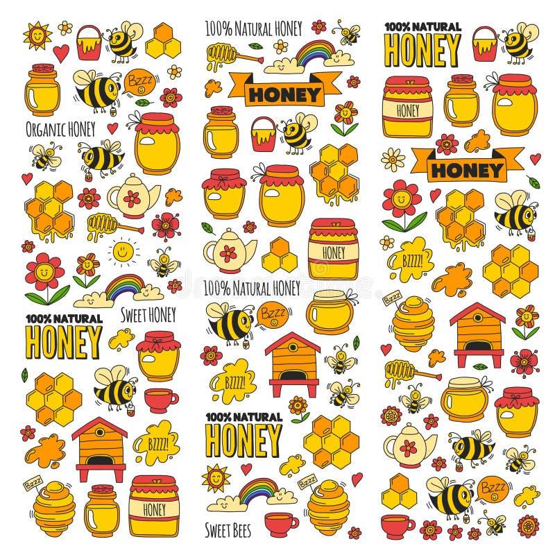 Honungmarknad, basar, ganska klotterbilder för honung av bin, blommor, krus, honungskaka, bikupa, fläck, kaggen med bokstäver royaltyfri illustrationer