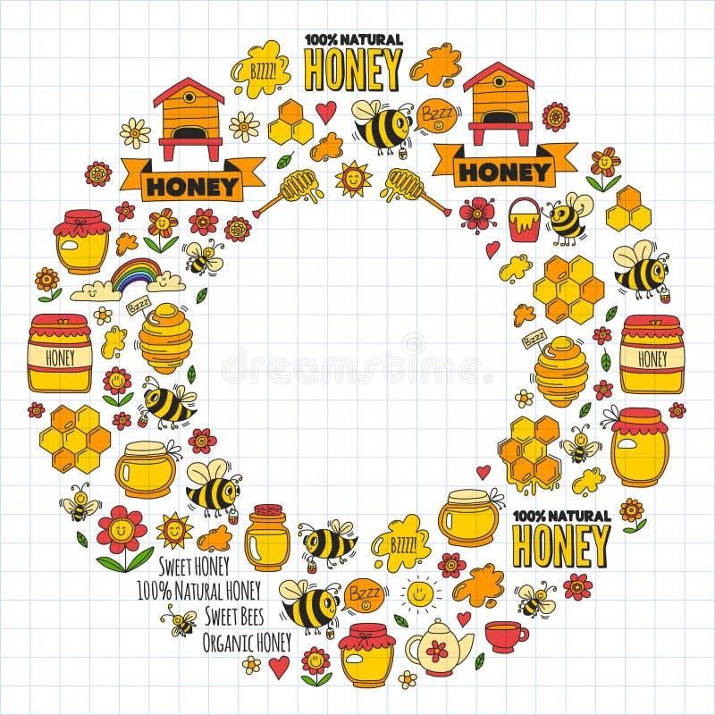 Honungmarknad, basar, ganska klotterbilder för honung av bin, blommor, krus, honungskaka, bikupa, fläck, kaggen med bokstäver vektor illustrationer