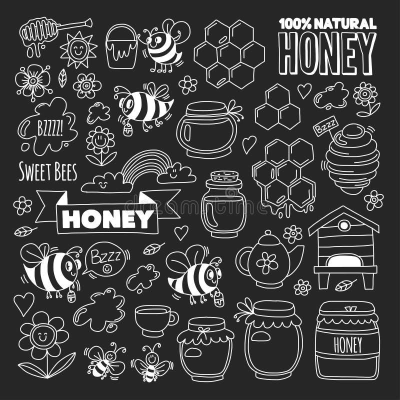 Honungmarknad, basar, ganska klotterbilder för honung av bin, blommor, krus, honungskaka, bikupa, fläck, kaggen med bokstäver stock illustrationer