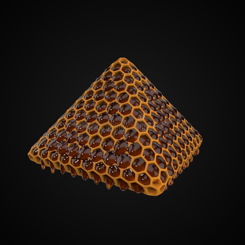Honungskakapyramid med flödande honung illustration 3d vektor illustrationer