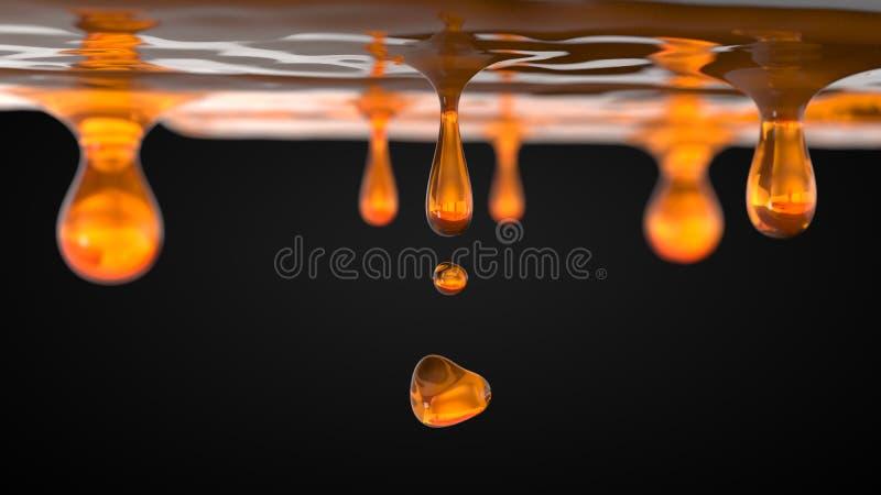 Honungsmå droppar industriellt matvätskebegrepp illustration 3d vektor illustrationer