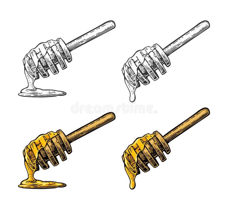 Honungstekflott från träpinnen Tappning inristad illustration royaltyfri illustrationer
