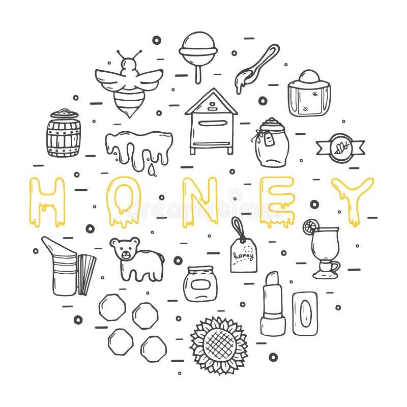 Honungsymboler, stor uppsättning, hand dragen stil stock illustrationer
