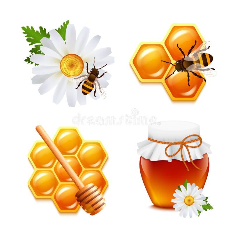 Honungsymbolsuppsättning vektor illustrationer