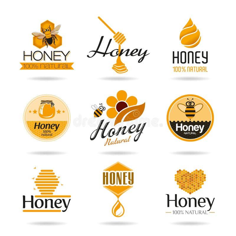 Honungsymbolsuppsättning royaltyfri illustrationer