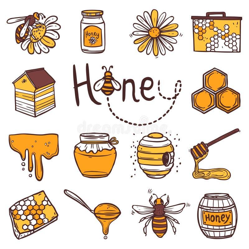 Honungsymbolsuppsättning stock illustrationer