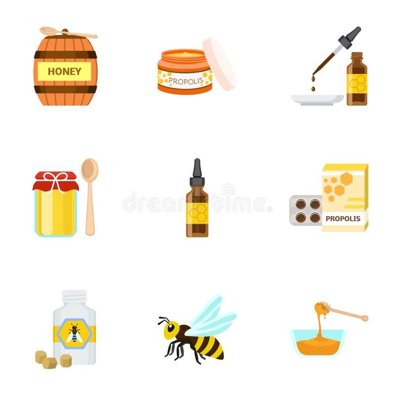 Honungsymbolsuppsättning, plan stil stock illustrationer