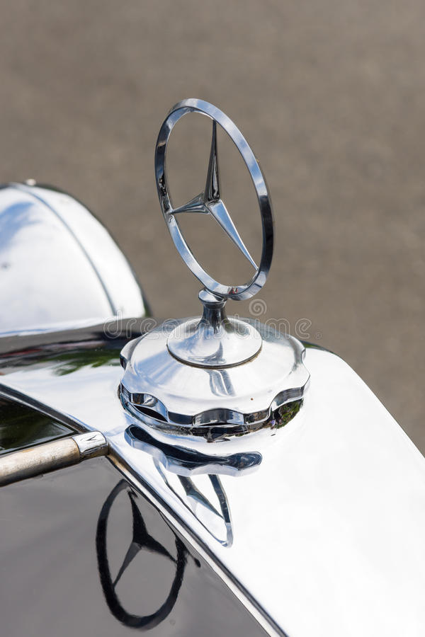 Hood ornament of the luxury car Mercedes-Benz Typ 290 (W18) stock image