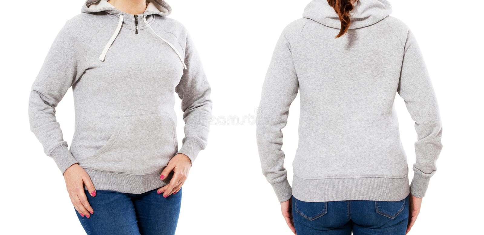 Hood set girl woman posing in empty hoodie mock up isolated over white background royalty free stock photos