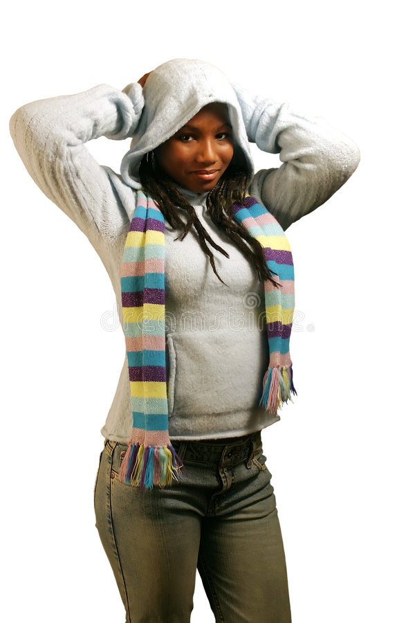 Hood Up With Clipping Path. A pretty teenage girl with her hood up. Isolated with clipping path royalty free stock photography