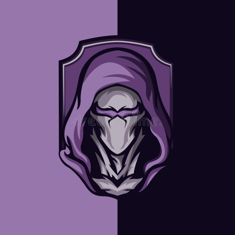 Hooded character logo design royalty free illustration