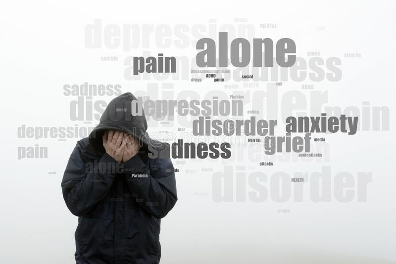 A hooded man holding his head in his hands. With a word cloud of mental health issues. On a plain white background stock images