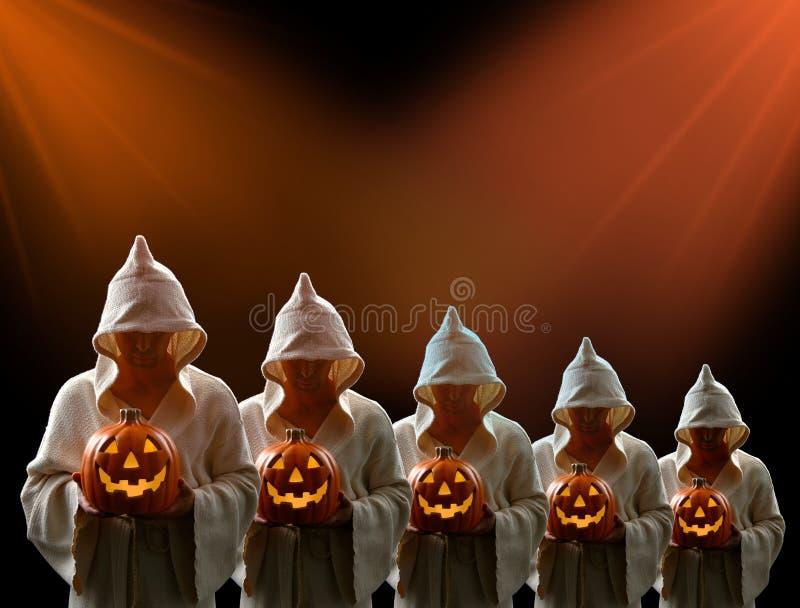 Download Hooded Men And Jack-0-Lantern Stock Image - Image of dark, orange: 3298193