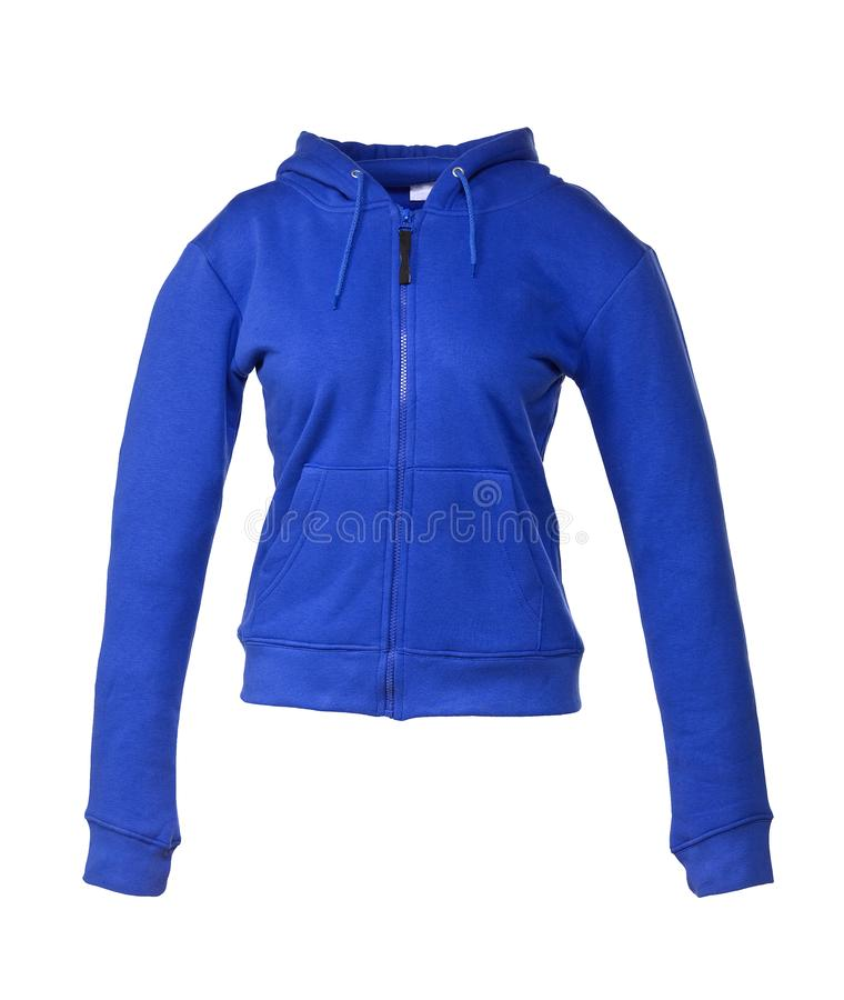 Free Hooded Sweater Royal Blue For Girls Isolated On White Royalty Free Stock Images - 143282409