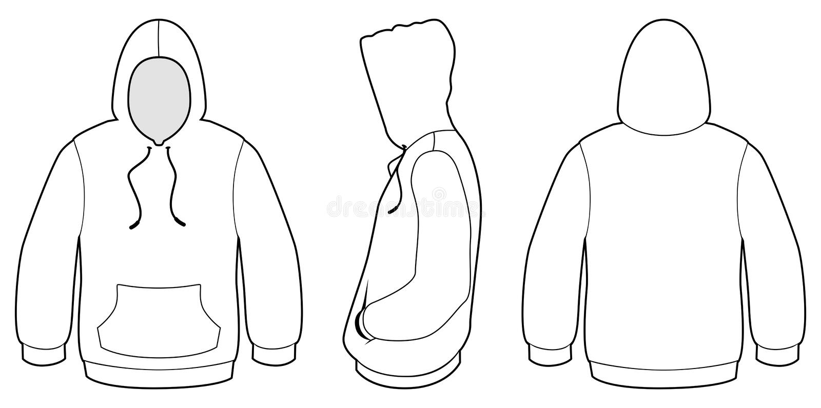 Hooded sweater template vector illustration stock vector Coloring book hoodie