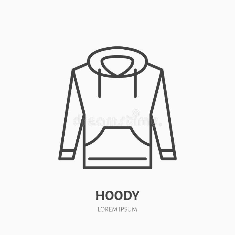 Hoodie, επίπεδο εικονίδιο γραμμών πουλόβερ Περιστασιακό σημάδι καταστημάτων ενδυμασίας Λεπτό γραμμικό λογότυπο για το κατάστημα ι διανυσματική απεικόνιση