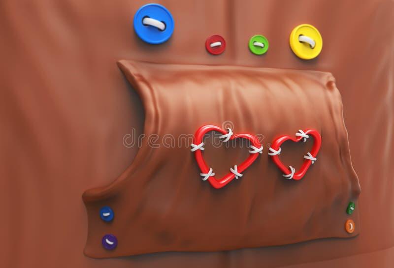 Hoodie με τα κουμπιά και τις καρδιές διανυσματική απεικόνιση