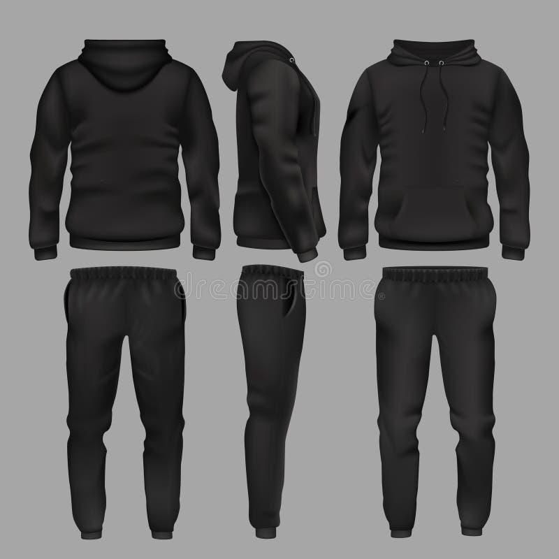Hoodie и брюки sportswear чернокожего человека vector изолированный модель-макет иллюстрация вектора