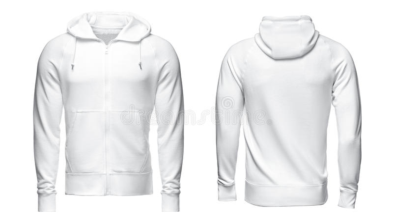Hoodie branco, modelo da camiseta, isolado no fundo branco imagem de stock royalty free