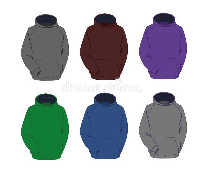Hoodie different colors set realistic vector illustration isolated royalty free stock photos