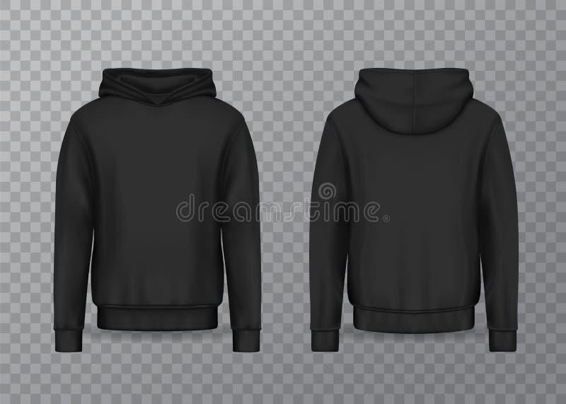 Hoodie realístico dos homens ou 3d preto hoody, camiseta ilustração do vetor