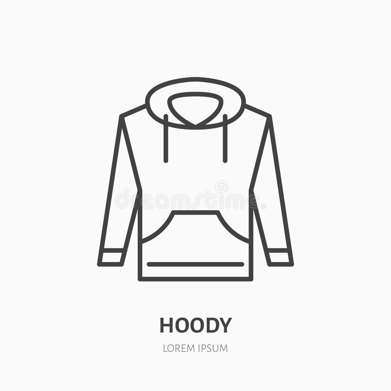 Hoodie, sweater flat line icon. Casual apparel store sign. Thin linear logo for clothing shop.  vector illustration