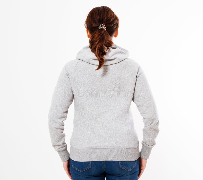 Hoodiemodell Pullover der Schönheiten graues, Frau im grauen Hoodie, Schablone für Ihren eigenen Entwurf, Mädchen, das leeren gra lizenzfreies stockbild