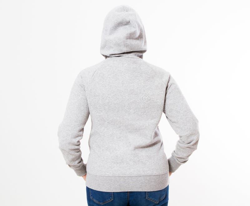 Hoodiemodell Pullover der Schönheiten graues, Frau im grauen Hoodie, Schablone für Ihren eigenen Entwurf, Mädchen, das leeren gra stockfotografie