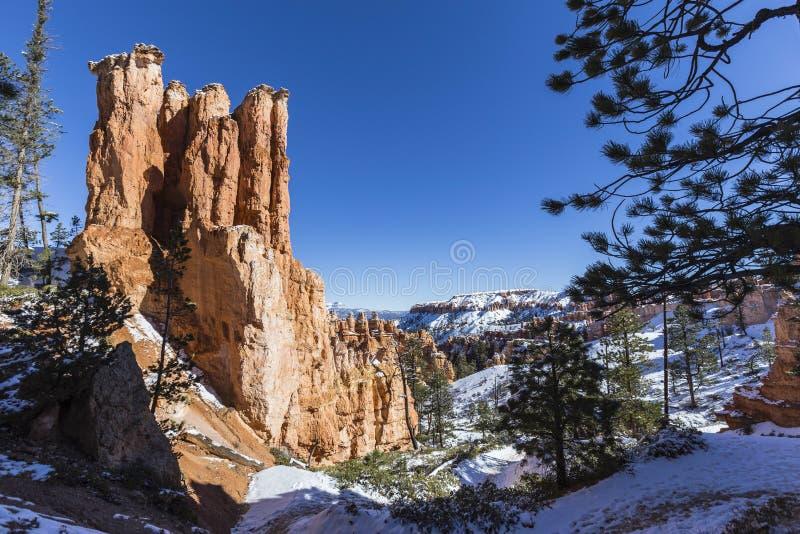 Hoodoo και χιόνι στο εθνικό πάρκο φαραγγιών του Bryce στοκ εικόνες με δικαίωμα ελεύθερης χρήσης