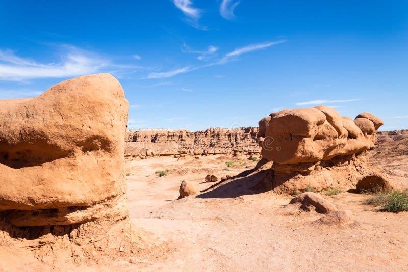 Hoodoo-formaties van het State Park van de Goblin Valley, Utah royalty-vrije stock afbeeldingen