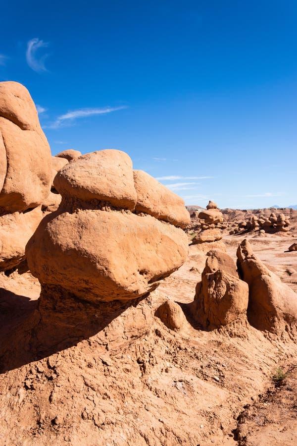 Hoodoo-formaties van het State Park van de Goblin Valley, Utah royalty-vrije stock fotografie