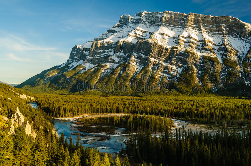 Hoodoos Banff Rundle mountain Bow river sunset stock images