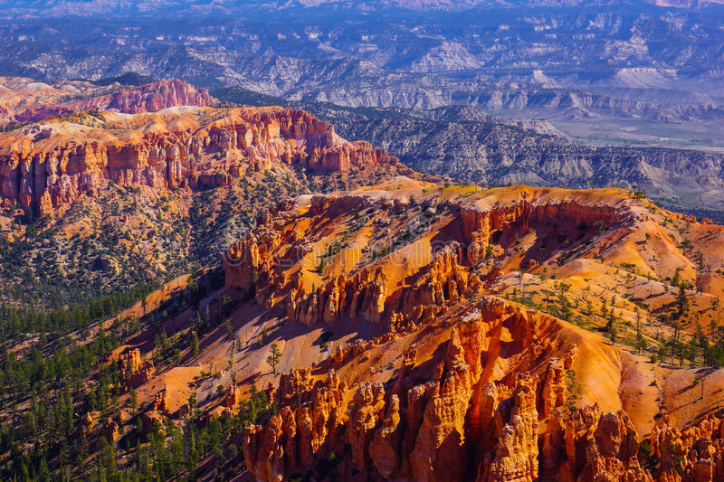 Bryce Canyon Utah. There is no place like Bryce Canyon. The red soil and sandstone shaped pillars created by erosion. These are called hoodoos - an unusual name royalty free stock image