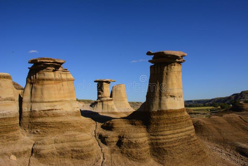 Hoodoos near Drumheller. A shot overlooking some hoodoos near Drumheller, Alberta, Canada royalty free stock photo