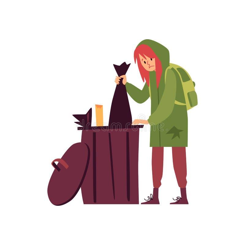 hoody身分的无家可归的妇女和搜查在垃圾箱动画片样式 皇族释放例证